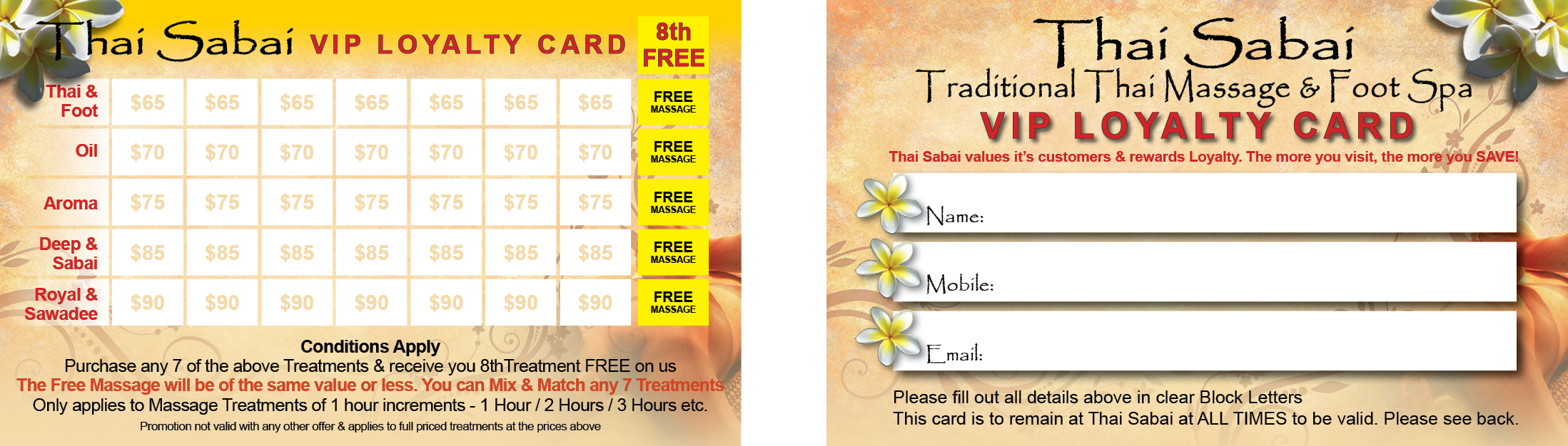 Thai Sabai Loyalty Card