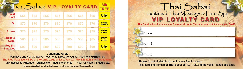 Thai Sabai Loyalty Card